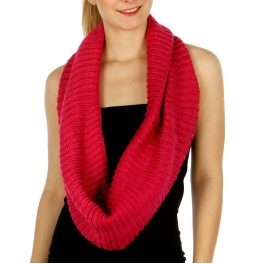 Wholesale P37C Vertical knit Infinity Scarf BK