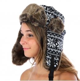 wholesale F16 Snow Flake Trapper Hat Black/White