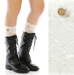 wholesale H10 Wood button lace boots toppers White