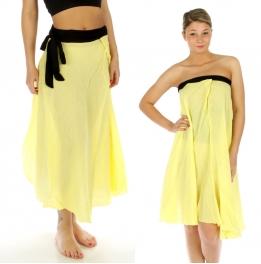 wholesale K83 Cotton magic wrap skirt Yellow fashionunic
