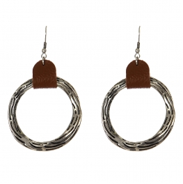 Wholesale WA00 Textured hoop w/ faux leather statement earrings SB