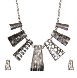 Wholesale WA00 Multi texture metal bib necklace set SB
