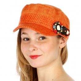 wholesale G02 Applique cadet woven hat Orange