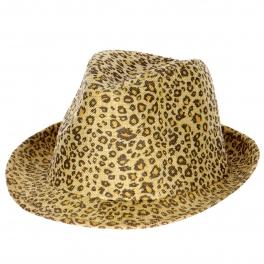 wholesale V59 Leopard print poly fedora hat Beige