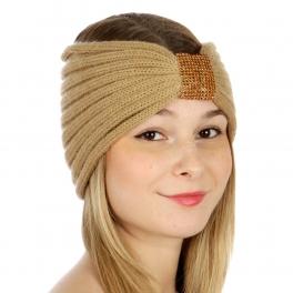 wholesale E04 Basic Color Knit Headband with Rhinestone Camel