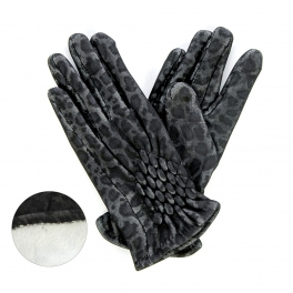 wholesale O20 Fur inside thermal leopard gloves Black