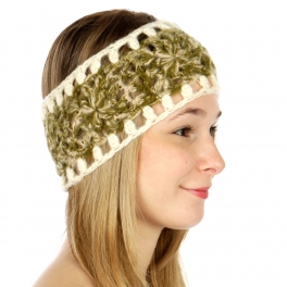 wholesale F20 Multicolored floral knit head wrap Green