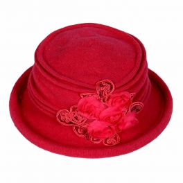 wholesale R11 Wool hat sequined flowers Hot Pink