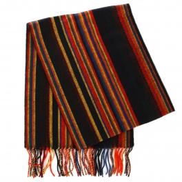 wholesale O63 Cashmere Feel Multicolored Striped Scarf 92802 Black