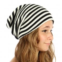 wholesale E13 Striped super stretchy knit beanie Black