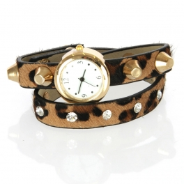 wholesale I71 Rounn stud cubicle long bracelet leopard watch Brown