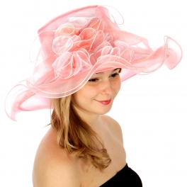 wholesale BX100 Two tone flower organza hat Black