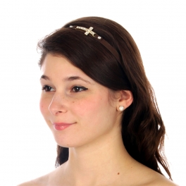 wholesale N36 Pave cross leather headband Brown/Gold