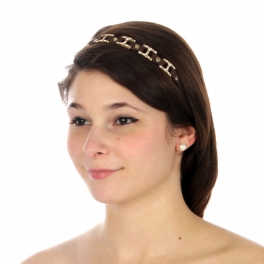 wholesale N36 Pave chain pebbled leather headband Brown/Gold