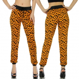 wholesale B06 Orange leopard faux leather joggers
