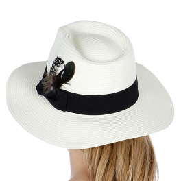 wholesale K30BX2 Feathered paper panama hat White