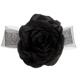 wholesale N35 Large flower ribbon brooch Black