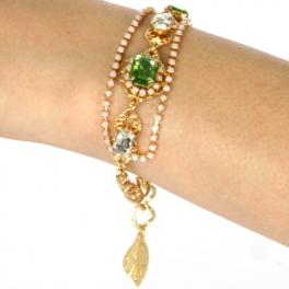 Wholesale N38 Rhinestone bracelet Gold/Peridot