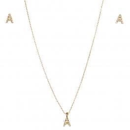 wholesale N33 Crystal initial 'A' set Gold fashionunic