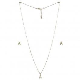 wholesale N33 Crystal initial 'A' set Rhodium