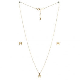 wholesale N33 Crystal initial 'M' set Gold fashionunic