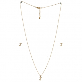 wholesale N33 Crystal initial 'J' set Gold fashionunic