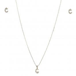wholesale N33 Crystal initial 'C' set Rhodium