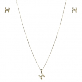 wholesale N33 Crystal initial 'H' set Rhodium