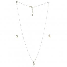 wholesale N33 Crystal initial 'S' set Rhodium