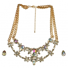 wholesale N38 Royal crystal necklace set Clear/Gold
