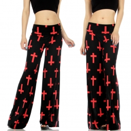 Wholesale B36 Palazzo cross print pants Black/Pink