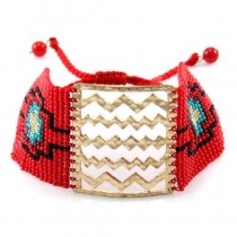 Wholesale L35 Ethnic design Bracelet Gold/Red
