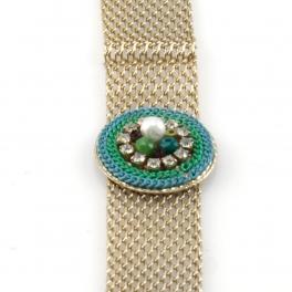 Wholesale L35 Circle accent bracelet Gold/Green