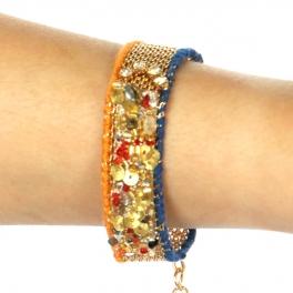 Wholesale L35 Gold sequin bracelet Gold/Blue/Orange