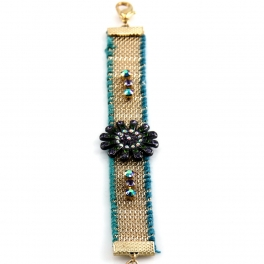 Wholesale L35 Flower beads bracelet Gold/Turquoise
