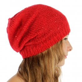 wholesale F18 Sequined knit long beanie Red fashionunic