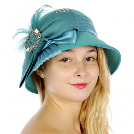 wholesale BX2 Bow feathers wool felt dress cloche hat TL
