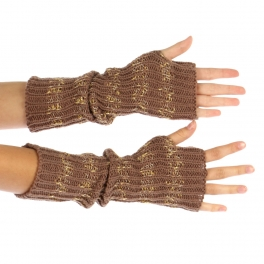 wholesale N32 Metalic stripe knit hand warmers Brown