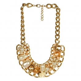 wholesale N45 Pearl w/chain necklace GCR fashionunic