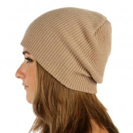 wholesale O24 2 layer solid knit beanie Camel