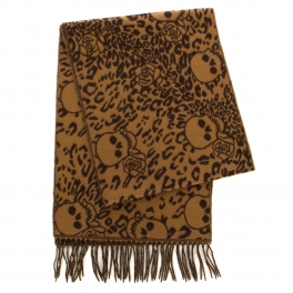 wholesale O62 Cashmere feel scarf Brown Skull and Animal Pattern fashionunic