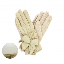 wholesale K26 Bow knot padding gloves Beige fashionunic