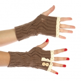 wholesale N20 Crochet lace top knit arm warmers Brown