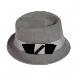 wholesale R15 Cute bow wool felt fedora hat Grey
