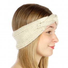 wholesale C20 Turban solid color Knit headband Ivory
