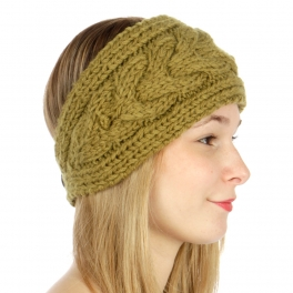 wholesale C24 Solid cable button back knit headband Mustard