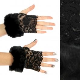 wholesale Q10 Faux fur fluffy cuffs lace arm warmers BK