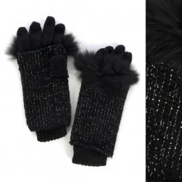 wholesale M32 Fox fur Two ways metallic knit gloves Black