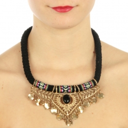 wholesale N45 Fabric and metal w/ laced necklace Gold