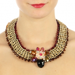 wholesale N50 Beaded w/chain necklace Brown fashionunic